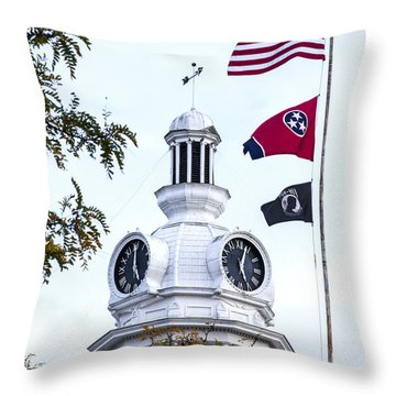 Clock Tower With Tennessee Mia Us Flag Art Throw Pillow