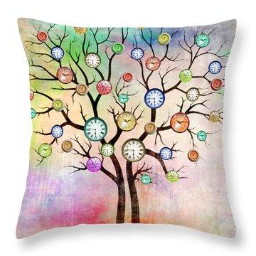 Clock Tree  Throw Pillow
