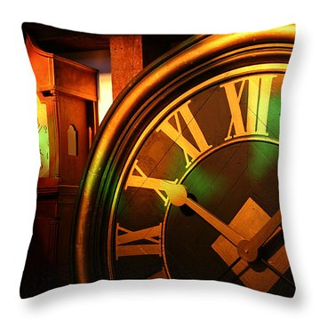 Throw Pillow featuring the photograph Clocks by William Selander
