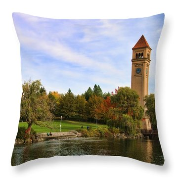 Clocktower And Autumn Colors Throw Pillow