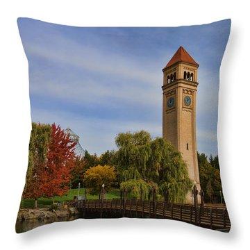 Clocktower Fall Colors Throw Pillow