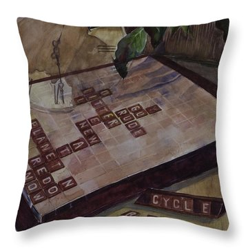 Clockwise Green Throw Pillow by Janet Felts