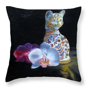 Throw Pillow featuring the painting Cloisonne Cat by LaVonne Hand