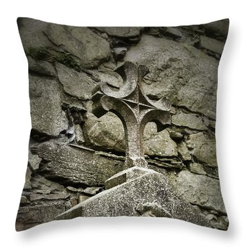 Cloister Cross At Jerpoint Abbey Throw Pillow by Nadalyn Larsen