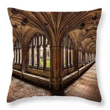 Cloisters At Lacock Abbey Throw Pillow