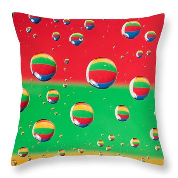 Clolrful Water Drop Reflections Throw Pillow by Sharon Dominick