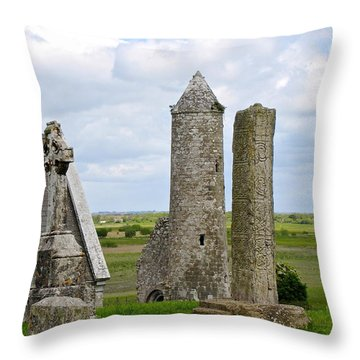 Clonmacnoise Towers Throw Pillow by Suzanne Oesterling