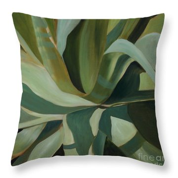 Close Cactus Throw Pillow by Debbie Hart
