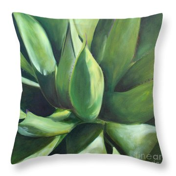 Close Cactus II - Agave Throw Pillow by Debbie Hart