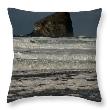 Throw Pillow featuring the photograph Close Haystack Rock by Susan Garren