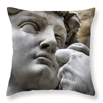 Close-up Face Statue Of David In Florence Throw Pillow