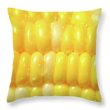 Close-up Of A Corn Throw Pillow by Sandra Cunningham