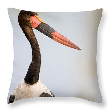 Close-up Of A Saddle Billed Stork Throw Pillow