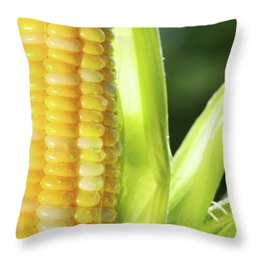 Close-up Of Corn An Ear Of Corn  Throw Pillow by Sandra Cunningham