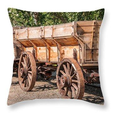 Close-up Of Grain Wagons Throw Pillow