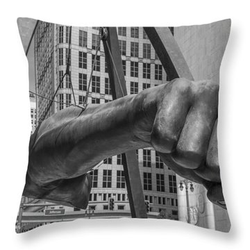 Close Up Of Joe Louis Fist Black And White  Throw Pillow