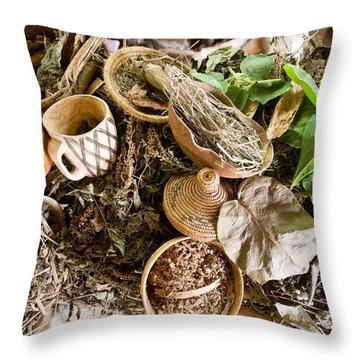 Close-up Of Natural Herbs And Healing Throw Pillow
