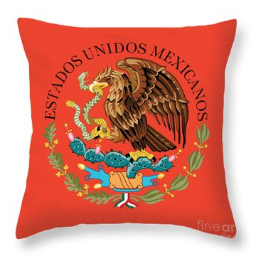 Close Up Of The Seal Within The Mexican National Flag Throw Pillow