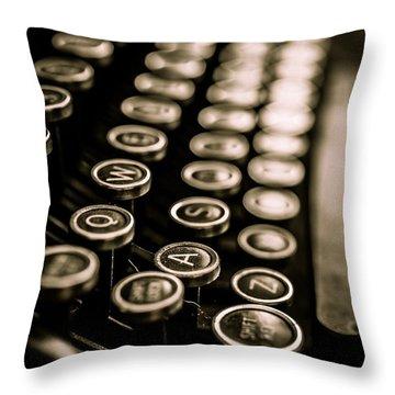 Close Up Vintage Typewriter Throw Pillow by Edward Fielding