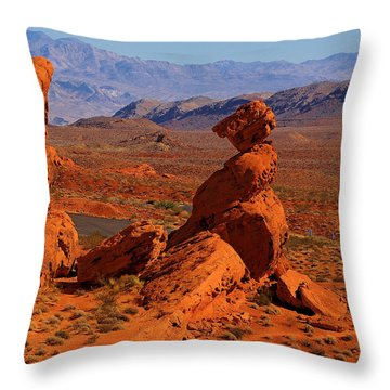 Throw Pillow featuring the photograph Close View On Balanced Rock by Viktor Savchenko