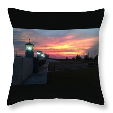 Closed Flood Gates Sunset Throw Pillow