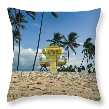 Closed Lifeguard Shack On A Deserted Tropical Beach With Palm Tr Throw Pillow