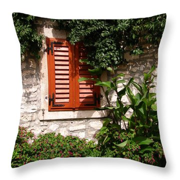 Closed Window Throw Pillow