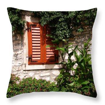 Closed Window Throw Pillow by Eva Csilla Horvath