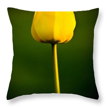 Closed Yellow Flower Throw Pillow