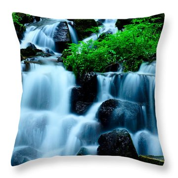 Closeup Of Beautiful Waterfall In Karuizawa Japan Throw Pillow