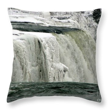 Closeup Of Icy Niagara Falls Throw Pillow