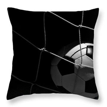 Closeup Of Soccer Ball In Goal Throw Pillow