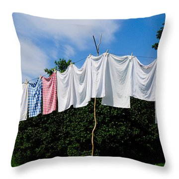 Clothes Line Throw Pillow by Bonnie Fink