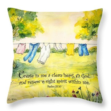 Clothesline Psalm 51 Throw Pillow