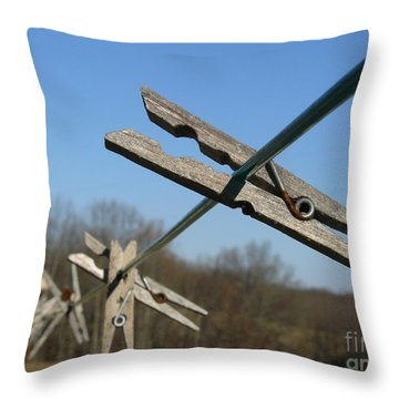 Throw Pillow featuring the photograph Clothespin In Winter by Jane Ford
