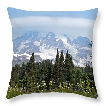 Cloud Capped Rainier Throw Pillow by Tikvah's Hope