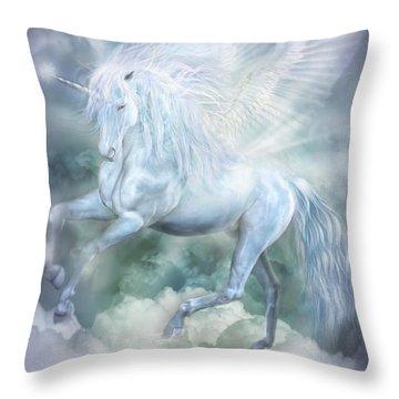 Throw Pillow featuring the mixed media Unicorn Cloud Dancer by Carol Cavalaris