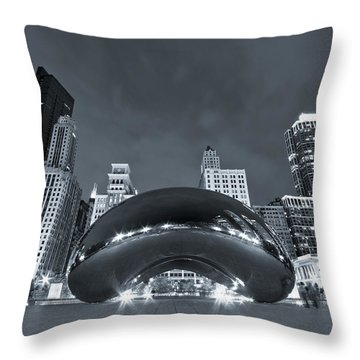 Cloud Gate And Skyline - Blue Toned Throw Pillow by Adam Romanowicz