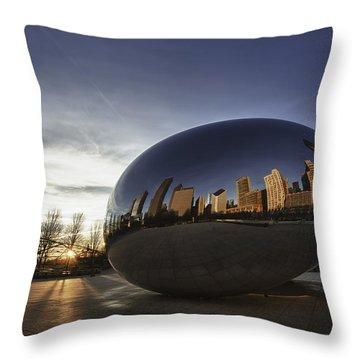 Cloud Gate At Sunrise Throw Pillow by Sebastian Musial
