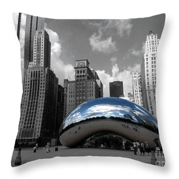Cloud Gate B-w Chicago Throw Pillow