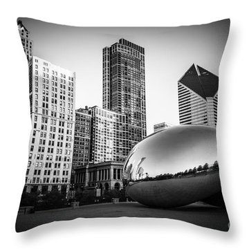 Cloud Gate Bean Chicago Skyline In Black And White Throw Pillow