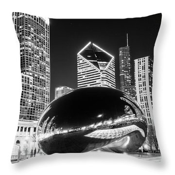 Cloud Gate Chicago Bean Black And White Picture Throw Pillow