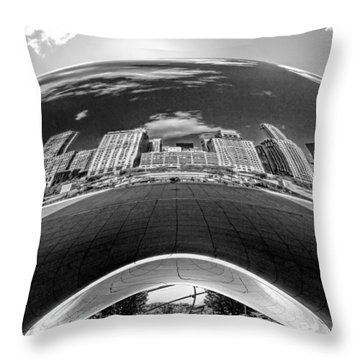 Cloud Gate Under The Bean Black And White Throw Pillow