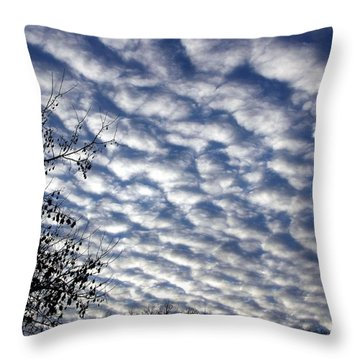Cloud Of Cotton Balls Throw Pillow