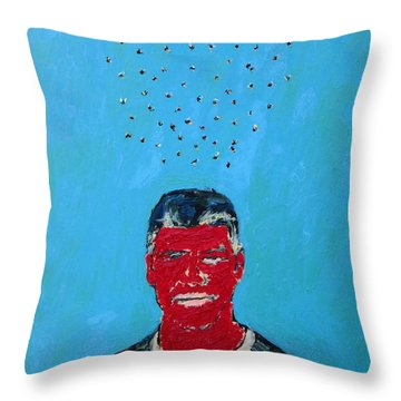 Cloud Of Flies Over Red George Throw Pillow by Fabrizio Cassetta