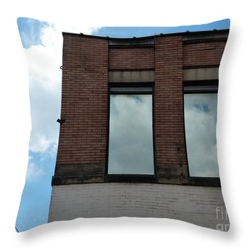 Cloud Reflection On Window Throw Pillow