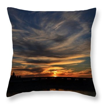 Cloud Swirl Sunset Throw Pillow