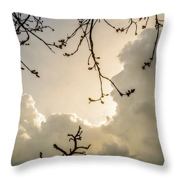 Clouds And Branches Throw Pillow by Yvon van der Wijk