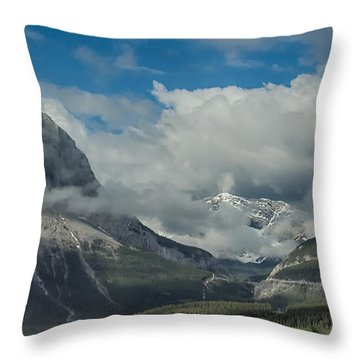 Clouds And Mist Over Canadian Rocky Mountain Peaks Throw Pillow