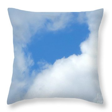 Clouds. Facial Profile In Blue. Throw Pillow